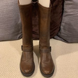 Distressed Brown Leather Frye Boots